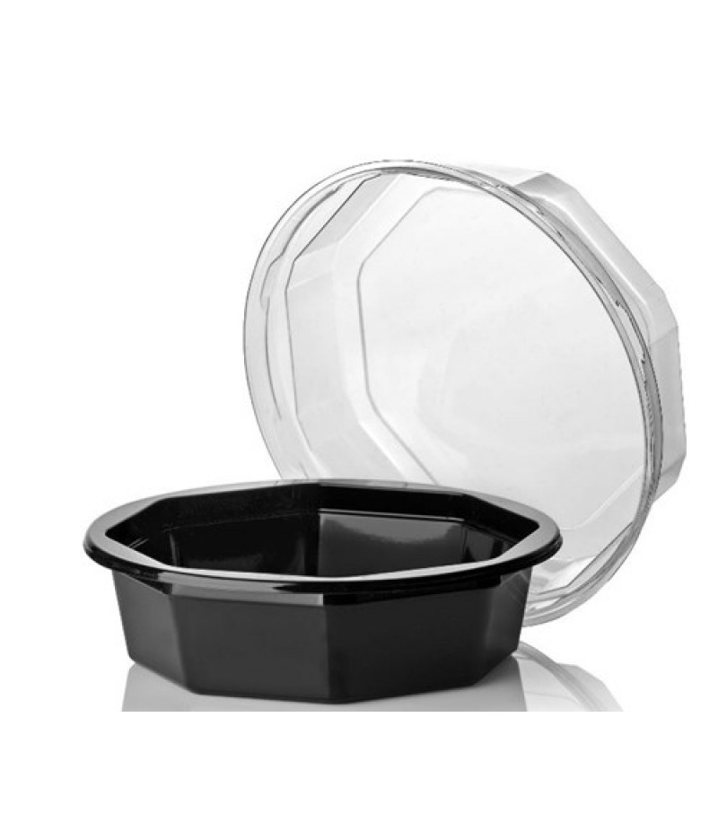 Saladebakje APET 8-hoek Zwart 110×33 Excl. Deksel 800 Stuks