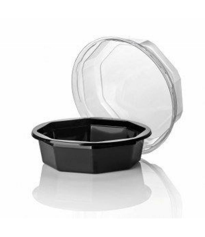 Saladebakje APET 8-hoek Zwart Dia 110×30 800 Stuks exc. Deks