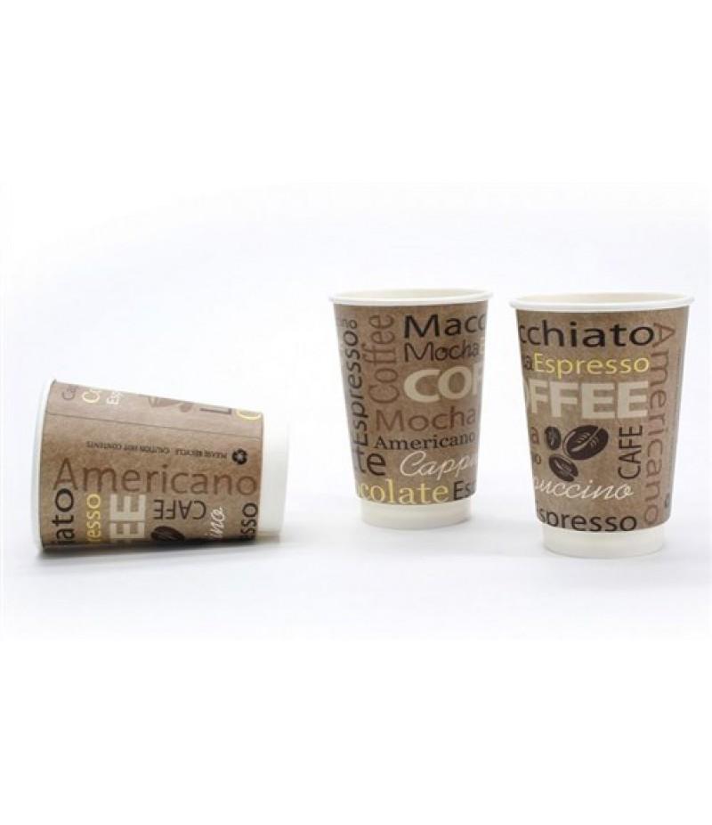 Koffiebeker Karton Dubbelwandig Mocha 9oz 200ml 500 Stuks