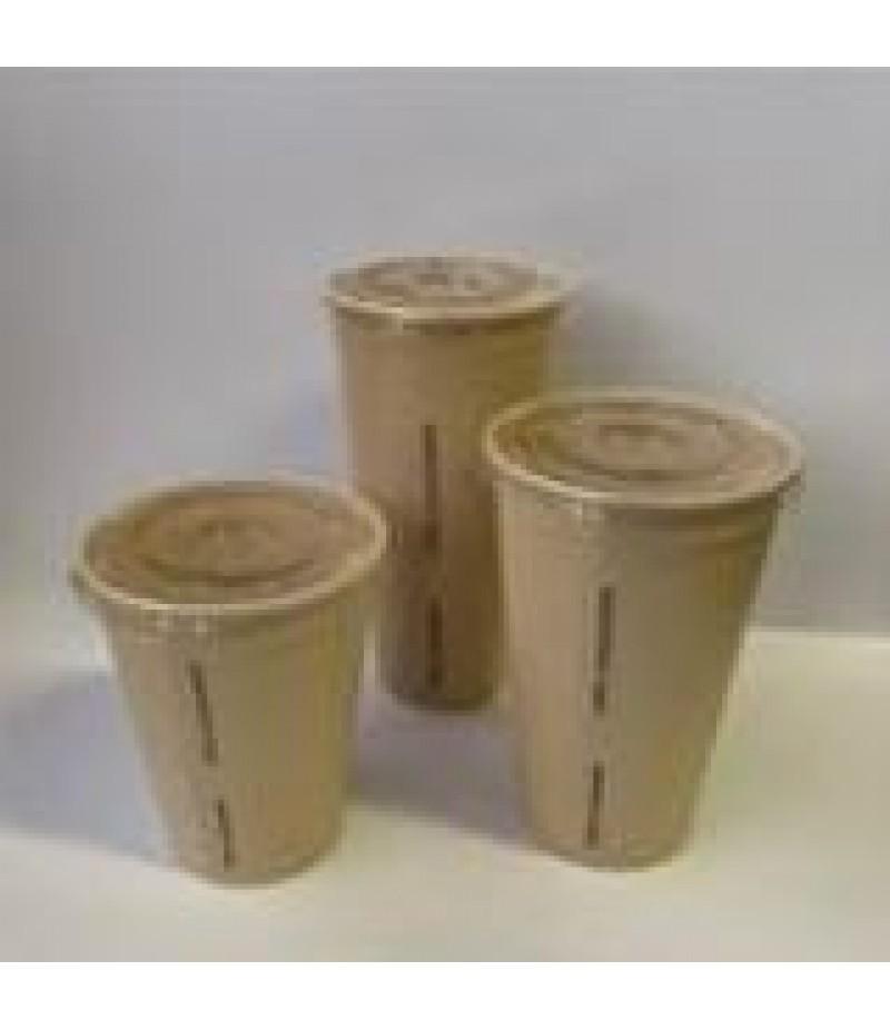 Milkshakebeker Bamboe Deksel PLA 90mm Met Kruisgat 50 Stuks