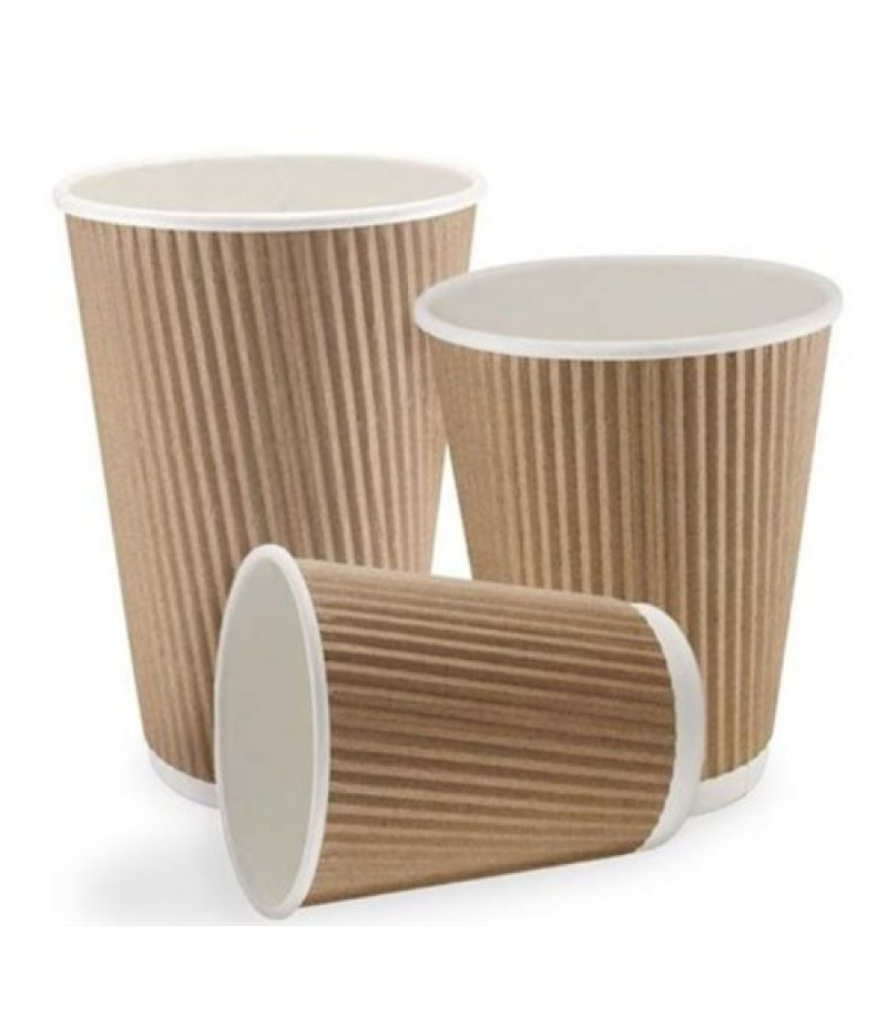 Koffiebeker Kraft Bruin Ribbel 8oz 500 Stuks