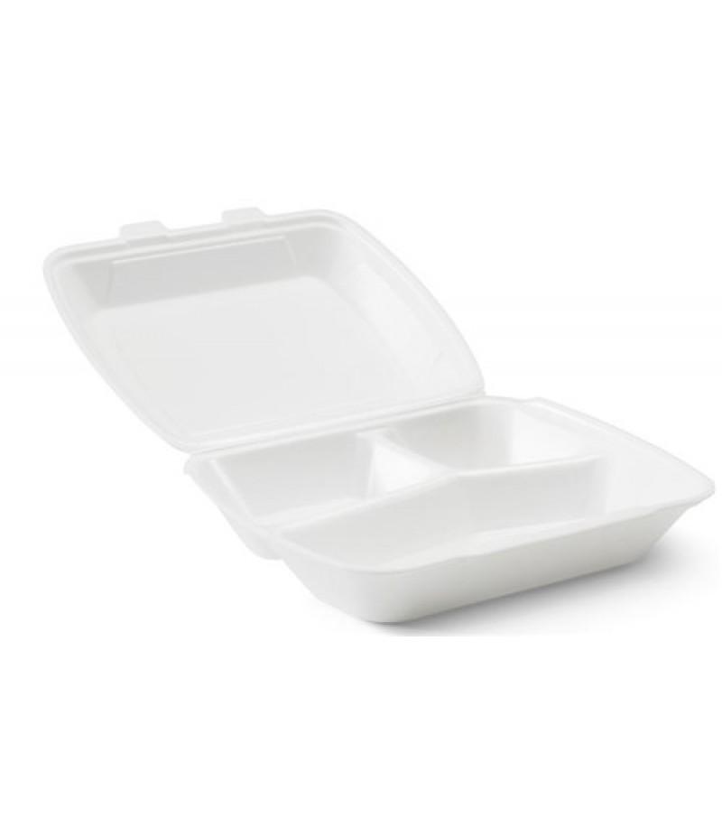Lunchbox Foam XPS Wit 3-Vaks HP-4 200 Stuks