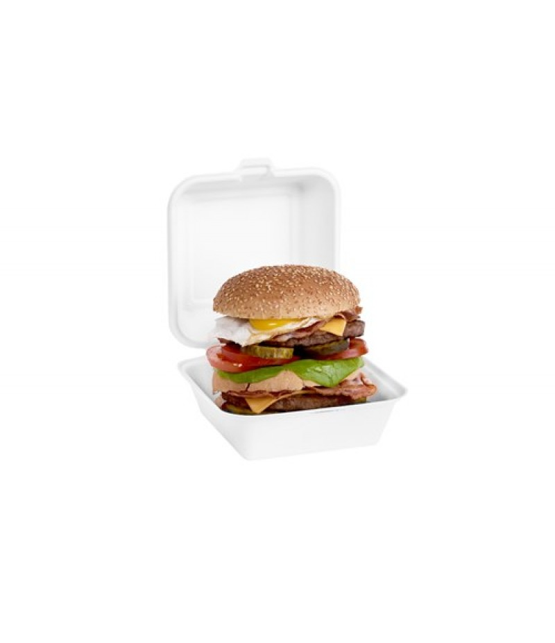 Suikerriet Hamburgerbox Wit 15,5x7,7cm 500 Stuks