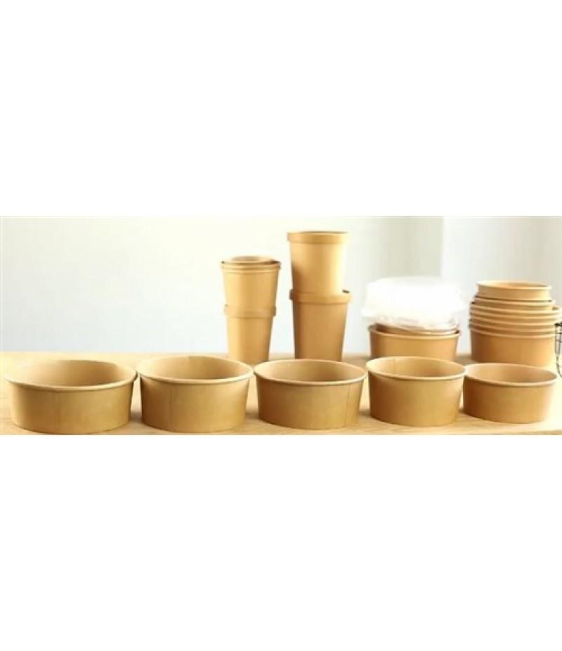 Foodcontainer Kraft/PLA 480ml/15cm Øx4,5cm 50 Stuks