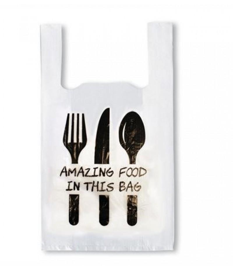 Hemddraagtas HDPE Amazing Food 27/6x48cm 2000 Stuks
