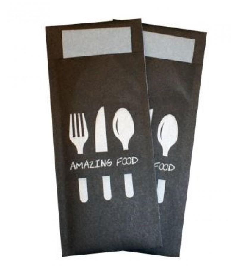 Bestekzakje Amazing Food Zwart/Grijs 600 Stuks