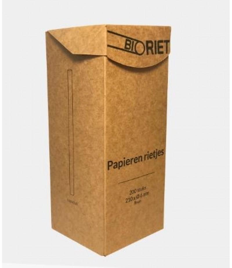 Drinkrietjes BioRiet Papier Bruin 21cm/6mm 200 Stuks