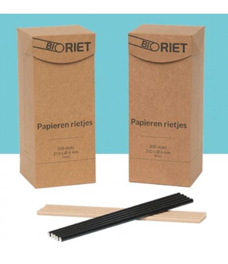 Drinkrietjes BioRiet Papier Bruin 21cm/Ø6mm 200 Stuks OP=OP