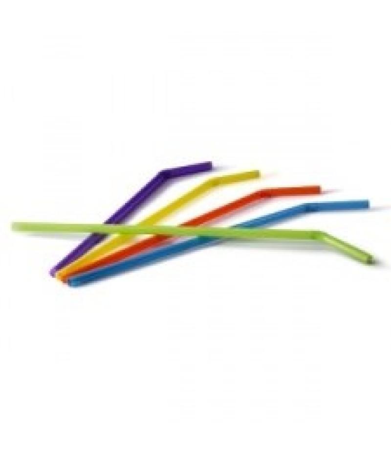 Drinkrietjes Plastic Buig Gekleurd 6mm/24cm 1000 Stuks