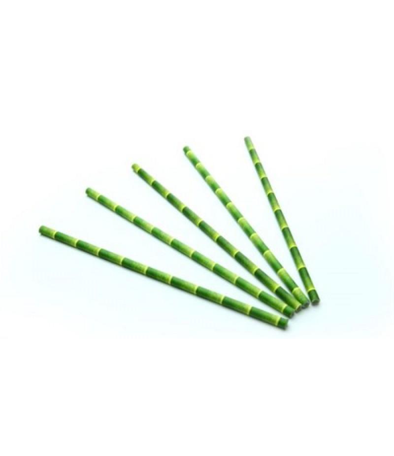 Drinkrietjes Papier Bamboe Look  20cm/6mm 200 Stuks 20042