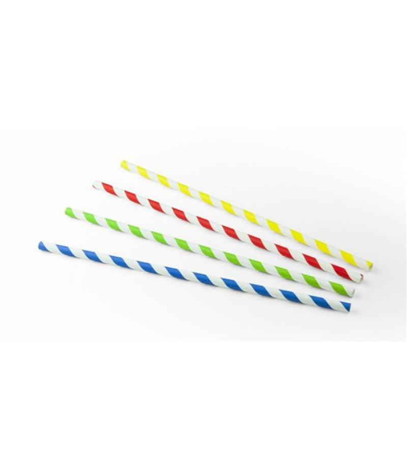 Drinkrietjes Papier Streep Gekleurd Ass 23cm/6mm 100st 20634