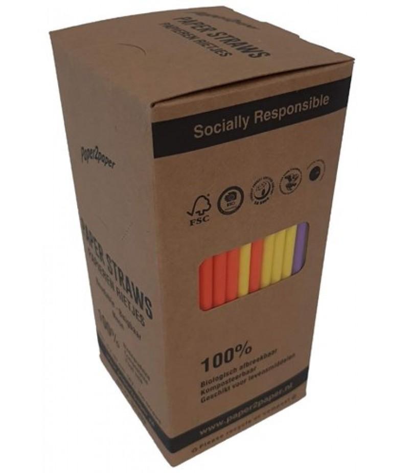 Drinkrietjes Paper2Paper Buig Neon 19,7mm/6mm 250 Stuks 1339