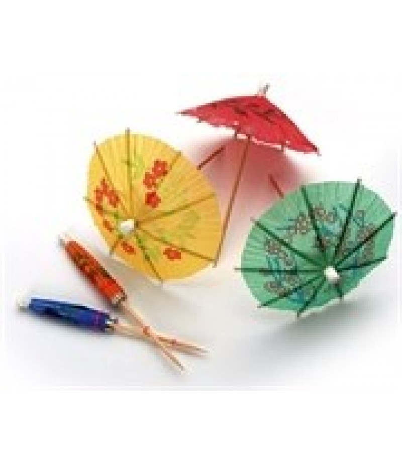 Parasol Op Prikker Kort Gekleurd Assorti 8cm 150 Stuks 42000
