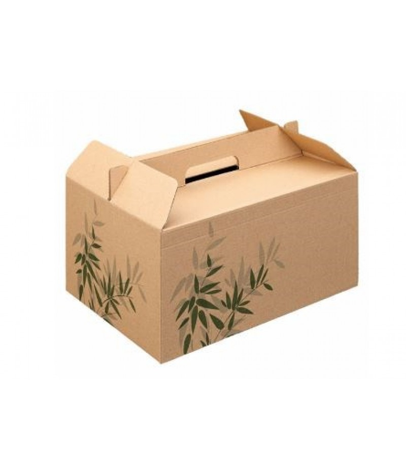 Take Away Box Met Handvat 28x20x15cm Bruin 100 Stuks