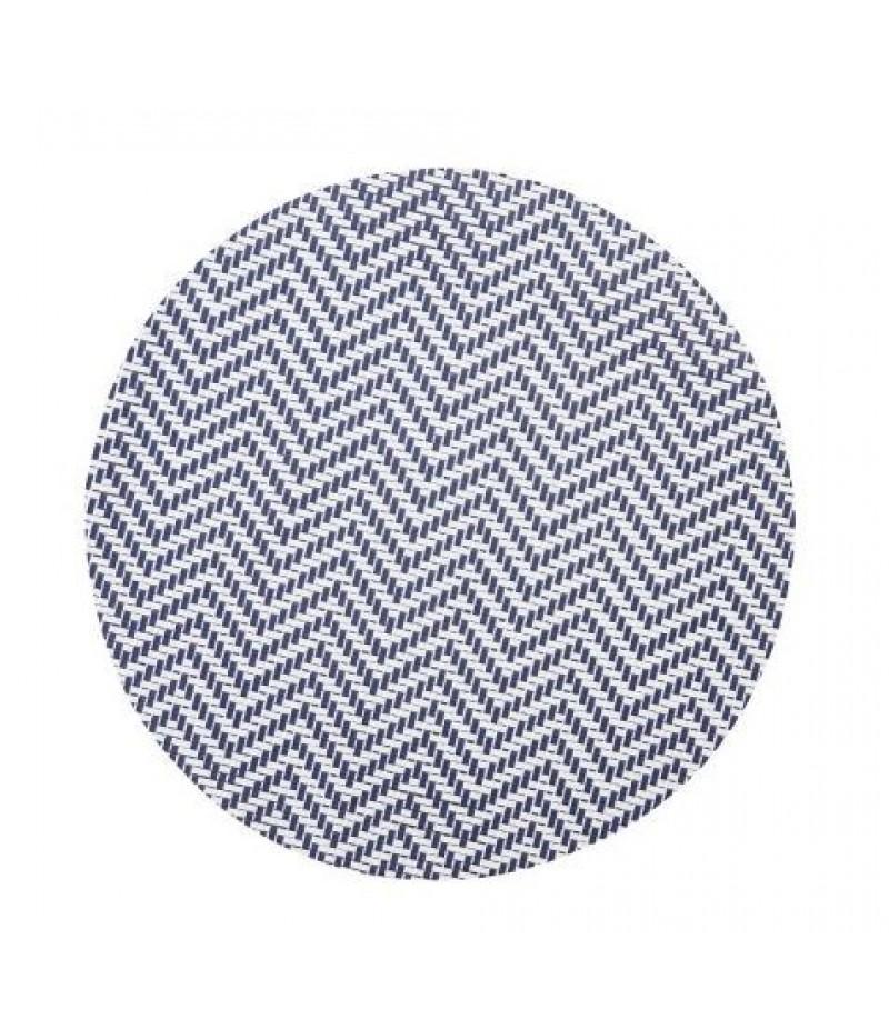 Placemat Rond Wit/Blauw 38cm Per 6 Verpakt