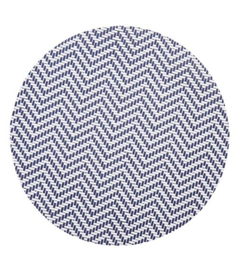 Placemat Rond Wit/Blauw 38cm 24 Stuks