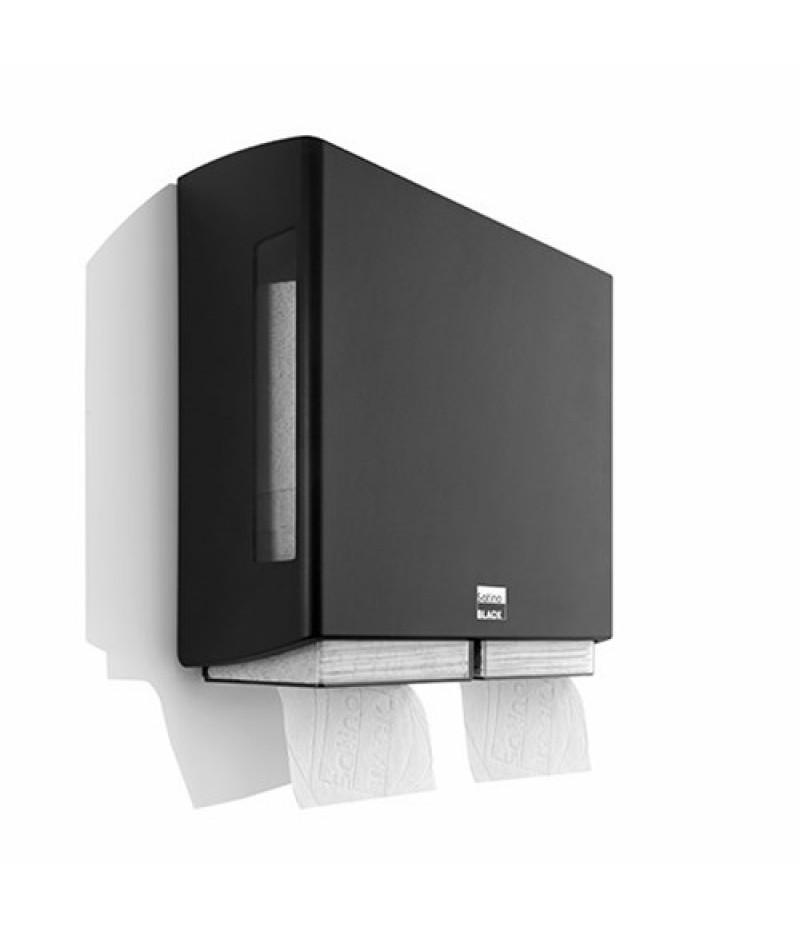 Toiletpapierdispenser BriQ Dubbel Zwart 332050 Black Satino