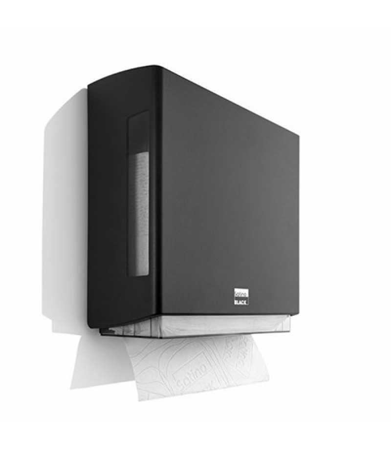Handdoek Dispenser BriQ Z-Vouw Zwart 332070 Black Satino