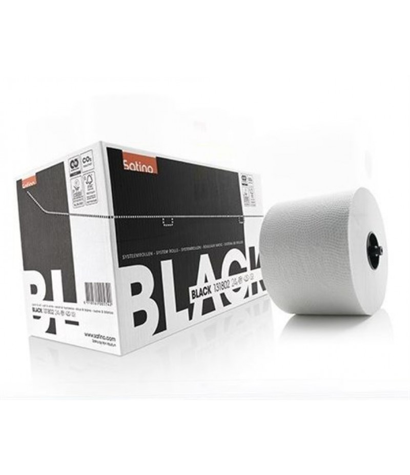 Toilet/Systeemrol M/Dop Wit 2-lgs 24x 313830 Black Satino