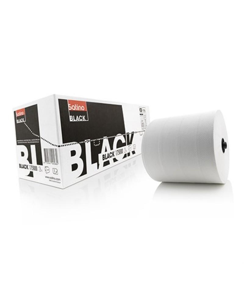 Handdoekrol Wit 2-Laags 175m 3Rol 306561 Black Satino