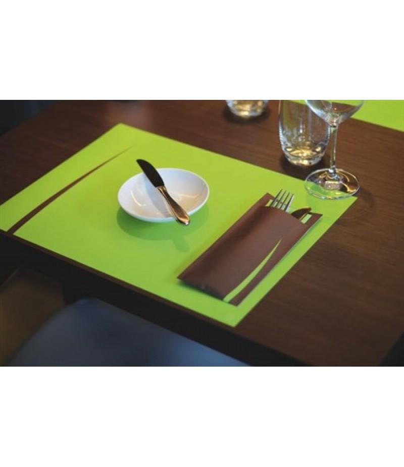 Bestekzakje Lima Zwart/Pistache Groen Servet 600 Stuks