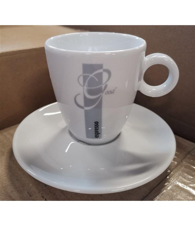 Espresso Good Mok 19cl Wit/Grijs (Excl. Schotel)