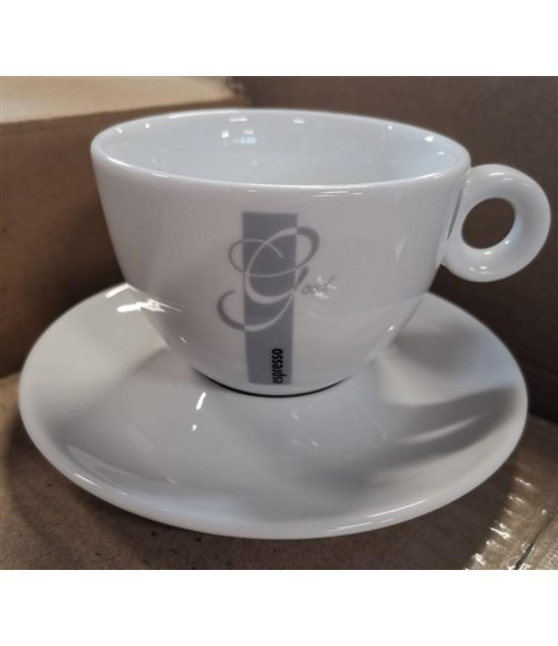 Espresso Good Cappuccino Kop 20cl Wit/Grijs (Excl. Schotel)