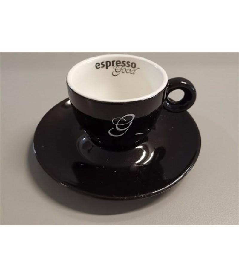 Espresso Good Koffiekop 15cl Zwart/Wit (Excl. Schotel)