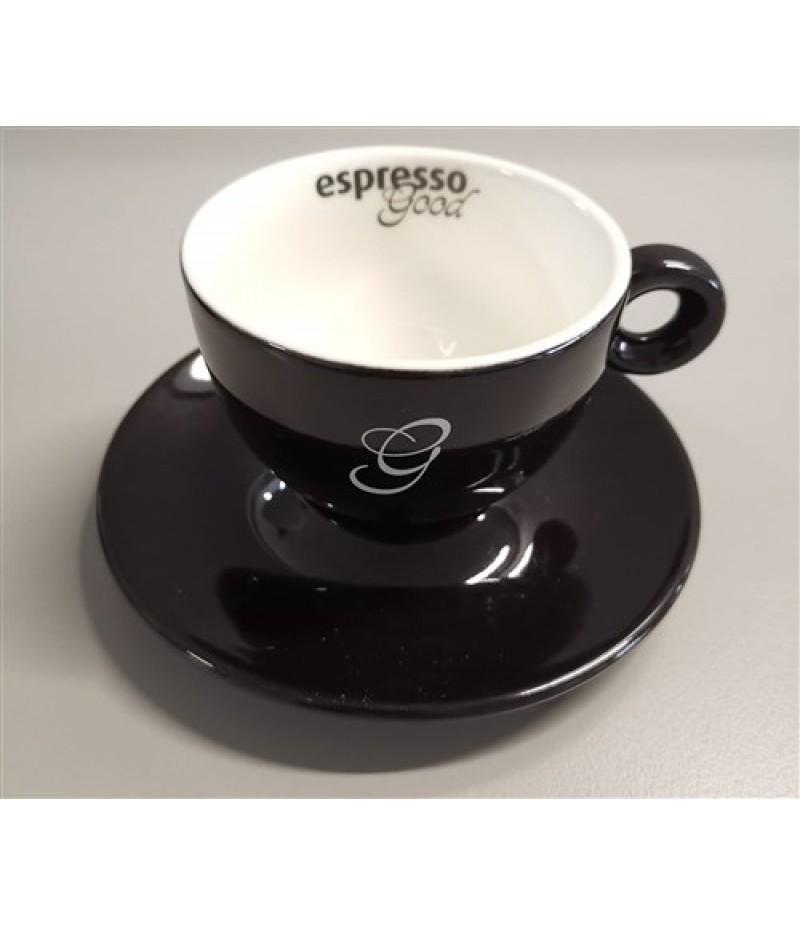 Espresso Good Cappuccino Kop 20cl Zwart/Wit (Excl. Schotel)