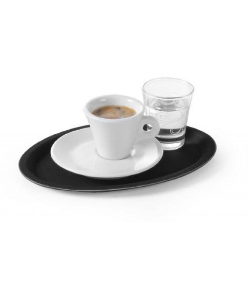 Dienblad Glasfiber Zwart Ovaal 210x290mm