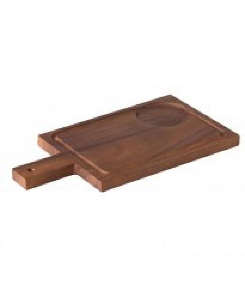 Acacia Plank/Plateau Handvat Incl Inkeping Voor Kom 35x18cm