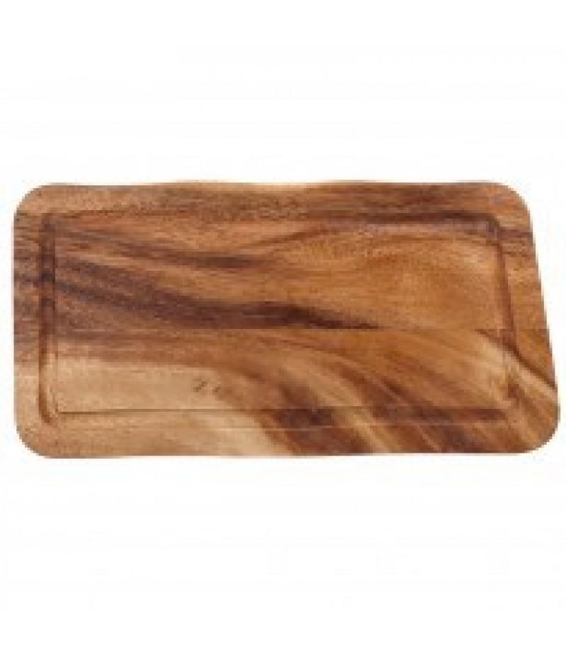 Acacia Rechthoekige Plank/Plateau Met Gleuf 40x22x2cm