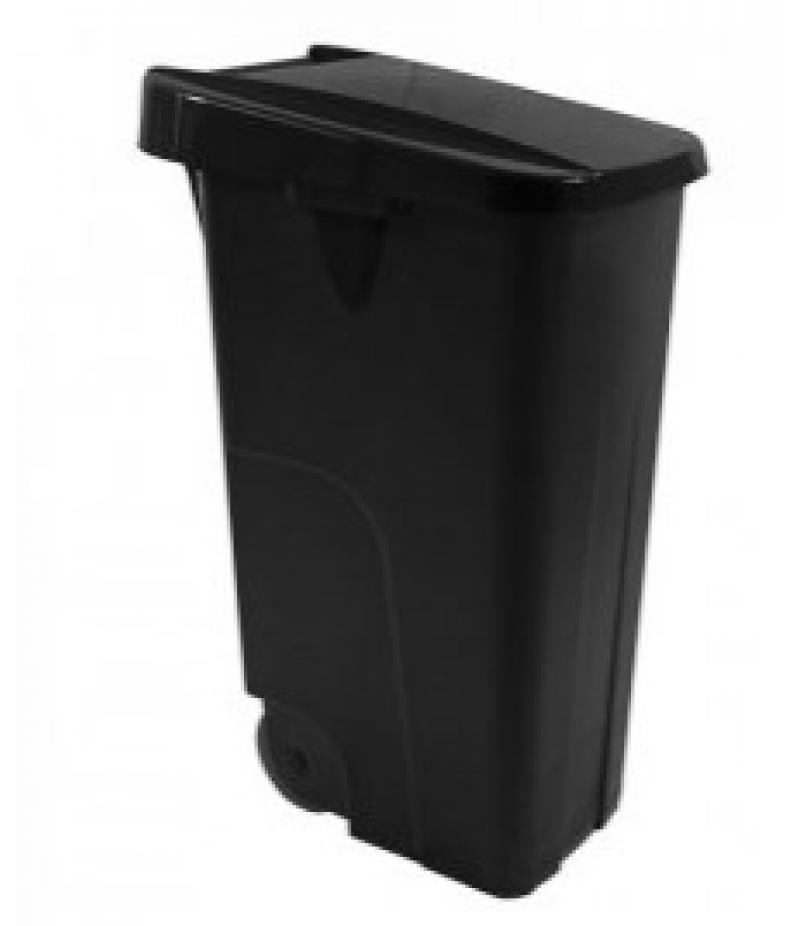 Afvalcontainer 85 Liter Zwart Kunststof Verrijdbaar
